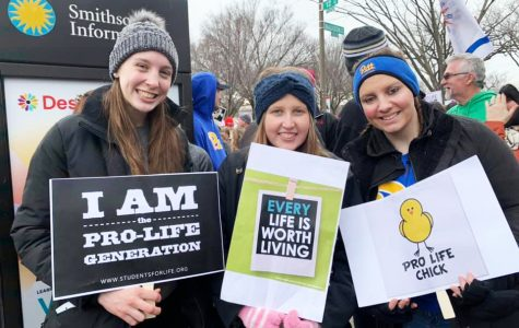 Campus Ministry members Mary Kromka, Hannah LaBar and Eileen Schmidt  (left to right) participated in the March for Life.